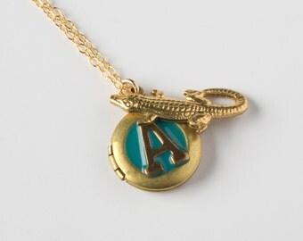 A Necklace - Initial A Necklace - Monogram Jewelry - Alligator Necklace - Lizard Locket - Personalized Necklace