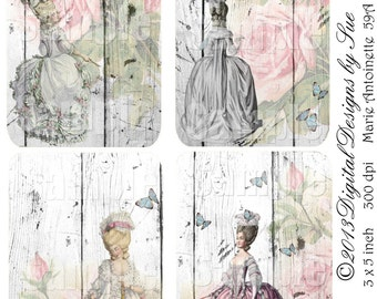INSTANT DOWNLOAD - Marie Antoinette 59A - 3x5 - Printable  Digital Collage Sheet