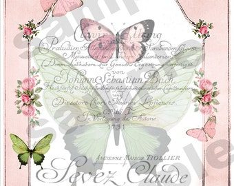 Instant Download Hang Tags  - BUTTERFLIES  -  Printable Digital Collage Sheet - Download