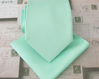Pastel Mint Green Mens Tie with Matching Pocket Square Set