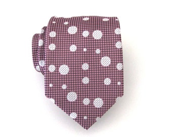 Mens Ties Necktie French Pink and White Dot Mens Tie