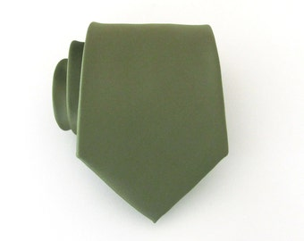 Necktie Olive Drab Green Mens Tie With Matching Pocket Square Option
