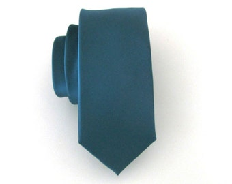 Teal Blue Necktie Slate Blue Skinny Tie With Matching Pocket Square Option