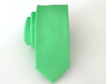 Mens Tie. Peppermint Green Skinny Necktie With Matching Pocket Square Option