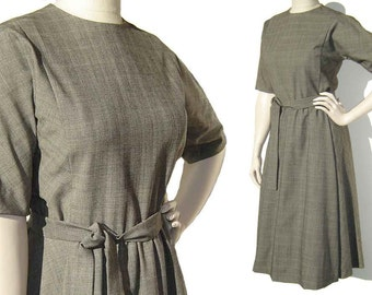 Vintage 50s Dress Maria Krum Gray Wool Plaid Henri Bendel M