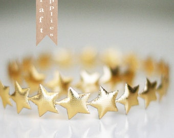 Bulk 10 Yard Roll of Large 3/4 inch Gold Puffy Star Trim Ribbon Garland