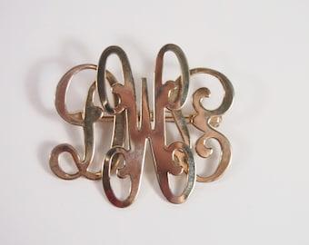 Monogram DWE Gold Tone Brooch Vintage 60s Jewelry