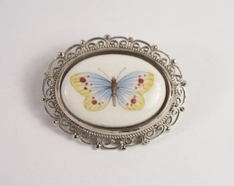 Porcelain Italy Butterfly Brooch Vintage 70s Jewelry