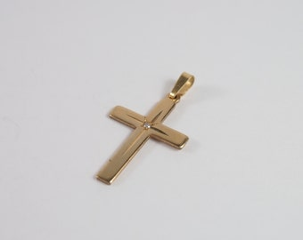 Cross Rhinestone Pendant 14K Gold Filled Vintage 50s 60s Jewelry Religious