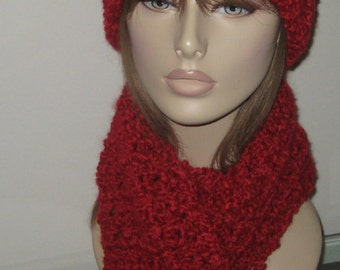Homespun Hat and Scarf Set in Candy Apple Red