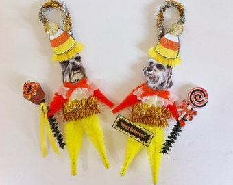 Schnauzer HALLOWEEN candy corn vintage style CHENILLE ORNAMENTS set of 2