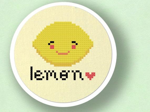 Lemon Love. Fruit Cross Stitch Pattern PDF File
