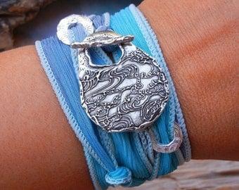 Beach Jewelry, Beach Silk Wrap Bracelet, Beach Wrap Bracelet, Sterling Silver Beach Bracelet, Ocean Waves Jewelry for the Beach