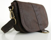 Waxed Canvas Hip Bag, Waxed Canvas Pouch, Waxed Canvas Bag - The Minus Saddle Pouch in Brown Wax Canvas