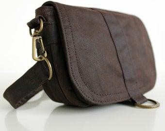 Waxed Canvas Hip Bag, Waxed Canvas Pouch, Waxed Canvas Bag, Vegan Clutch Bag - The Brown Saddle Pouch