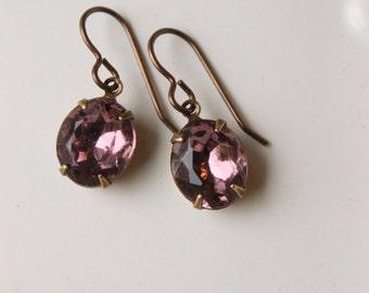 Light Amethyst Rhinestone Earrings Vintage Glass Jewels Old Hollywood Pale Purple Vintage Jewel Earrings Vintage Jewelry