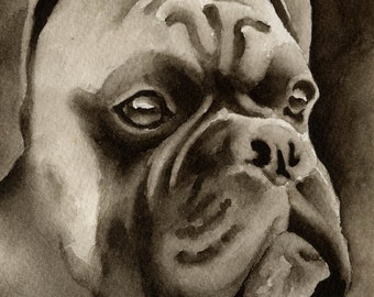 BOXER Sepia Art Print Signed by Watercolor Artist DJ Rogers