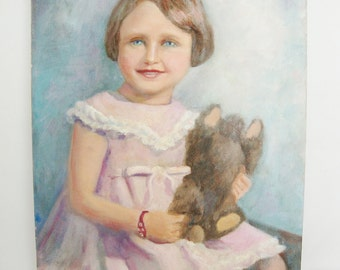 vintage oil painting of girl in pink dress and toy bear