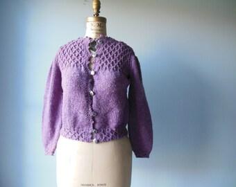 1960s vintage Waffle Weave knit cardigan