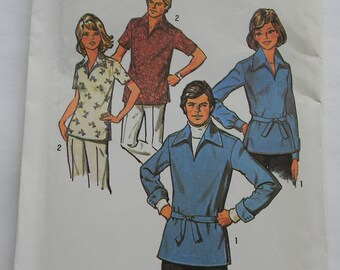 Vintage Simplicity Misses Pullover Shirt Pattern N6436, Size 14, Uncut, 1974