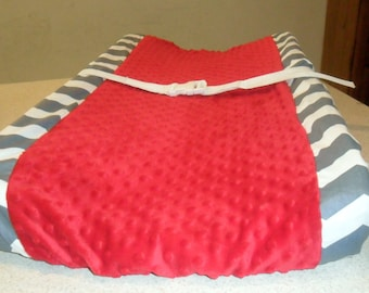 Gray Chevron and Red Minky Dot Changing Pad Cover