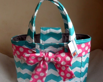 Large Teal Chevron with Hot Pink Bow and Gray Interior Diaper Bag Tote CHOICE OF INTERIOR