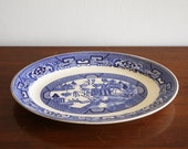 Vintage Blue Willow ironstone serving platter, blue and white chinoiserie
