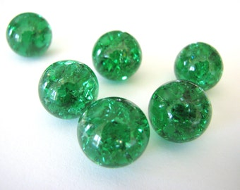 16mm Emerald Green Crackled Glass Marbles 20 pieces Cracked Pendant Making Beads