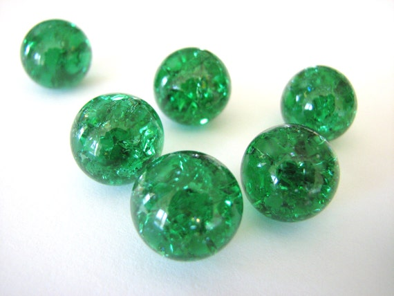Green Glass Marble : Mm emerald green crackled glass marbles pieces