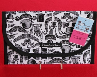 Mustaches Diaper and Wipes Case Holder Clutch