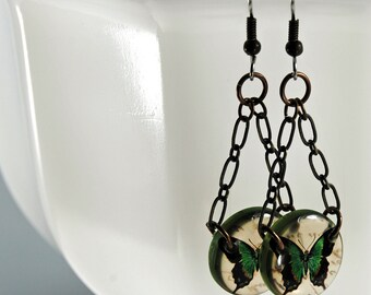 emerald green butterfly earrings, butterfly earrings, resin earrings, gifts under 20