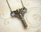 Angel Key Necklace, Angel Necklace, Clock Key, Angel, Cherub, Key Necklace, Vintage Key, Rustic, Upcycled Necklace, Recycled Key, Victorian