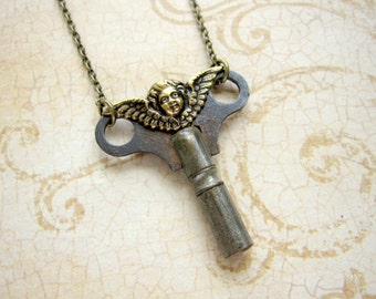 Angel Key Necklace, Angel Necklace, Clock Key, Angel, Cherub, Key Necklace, Vintage Key, Rustic, Upcycled Necklace, Recycled Key, Victorian