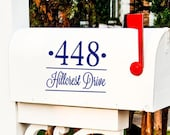 Beach Mailbox Vinyl Decal Set of Two , Custom Personalized Address Street Name Wall Mount , rural,