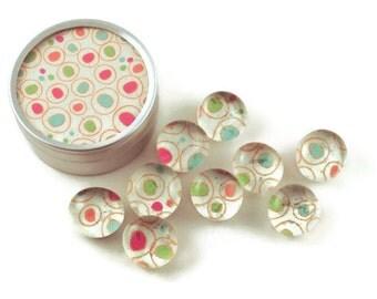 Glass Push Pins  Thumb Tacks Cork Board Pins in Big Top  with Gift Tin (PT73)