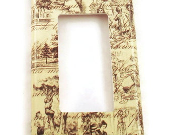 Rocker Light Switch Cover Wall Decor Light Switchplate Switch Plate in Toile  (178R)