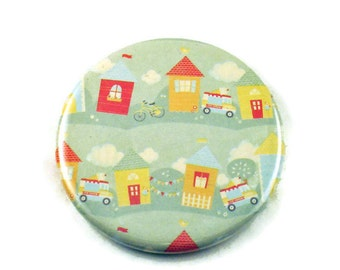 Pocket Mirror  Purse Makeup Cosmetic Mirror in Tiny Town (PM50)