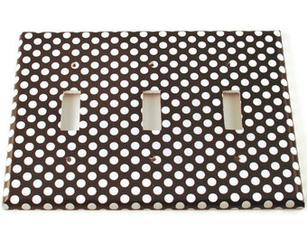 Triple Light Switch Cover Wall Decor Switchplate Switch Plate in  Polka Dots Rock (207T)