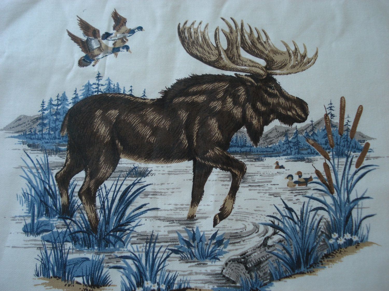 Native American Wildlife Fabric Quilt Panel Moose Ducks