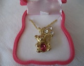 VINTAGE Teddy Bear Gold Metal October Birthstone Costume Jewelry Necklace
