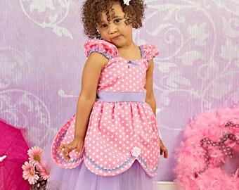 PRINCESS dress pink TUTU dress pink and  lavender  girls birthday party or portrait Easter dress