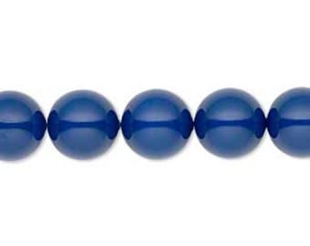 4 Swarovski Crystal Pearl Beads, Dark Lapis, 10mm round.