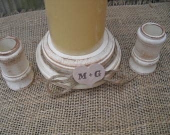 Shabby Chic Wood Wedding Personalized Unity Candle Holder Set - You Pick Color - Item 1566