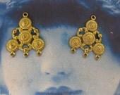 Raw Brass Earring Chandelier  Drops 6RAW  x2