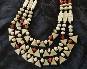 Vintage Ethnic Carved Bone & Carnelian Beaded Triple Strand Necklace