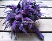 GOTHIC GODDESS Wedding Bouquet  Feathers And Organza