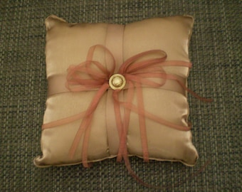 CLASSY Mocha/Brown Organza Ring bearer Pillow Gold And Brown with custom floral accent of your choice