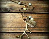 The Stag, Western Cowgirl Southwestern Boho Amazonite & Antiqued Bronze Antler Charm Necklace