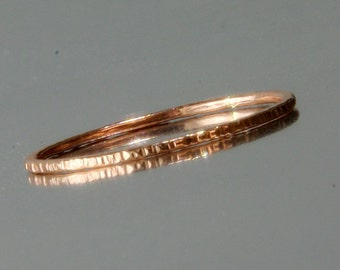 Thin Rose Gold Stackable Ring -1 Ring- Super Slim 1mm  hammered stackable Ring 14K Rose Gold Filled - Simple Modern Minimal Rings- Amsterdam