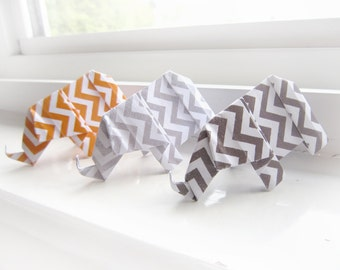 18 Origami Elephants - Orange and Grey Chevron